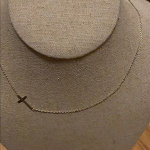 Stella & Dot silver interlock cross necklace